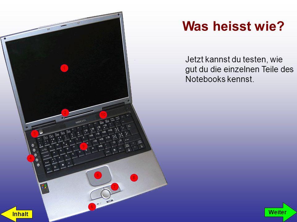 LCD-Display Touchpad Tasten und Scroll Pad Lautsprecher Status LEDs Handauflage Quik Launch Tasten Tastatur Eingebautes Mikrofon Einschaltknopf Was heisst wie.