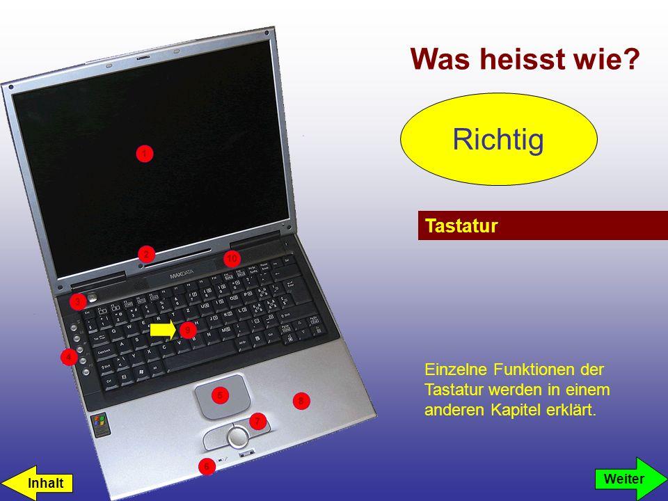 Was heisst wie? Tastatur Richtig Einzelne Funktionen der Tastatur werden in einem anderen Kapitel erklärt. Weiter Inhalt