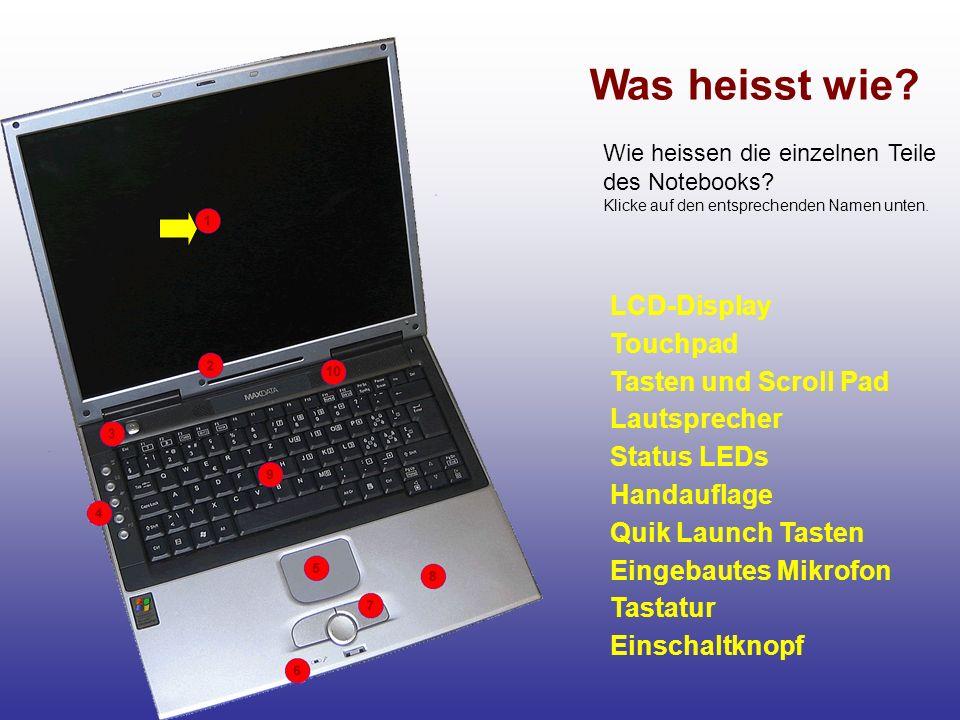 LCD-Display Touchpad Tasten und Scroll Pad Lautsprecher Status LEDs Handauflage Quik Launch Tasten Tastatur Eingebautes Mikrofon Einschaltknopf Was he