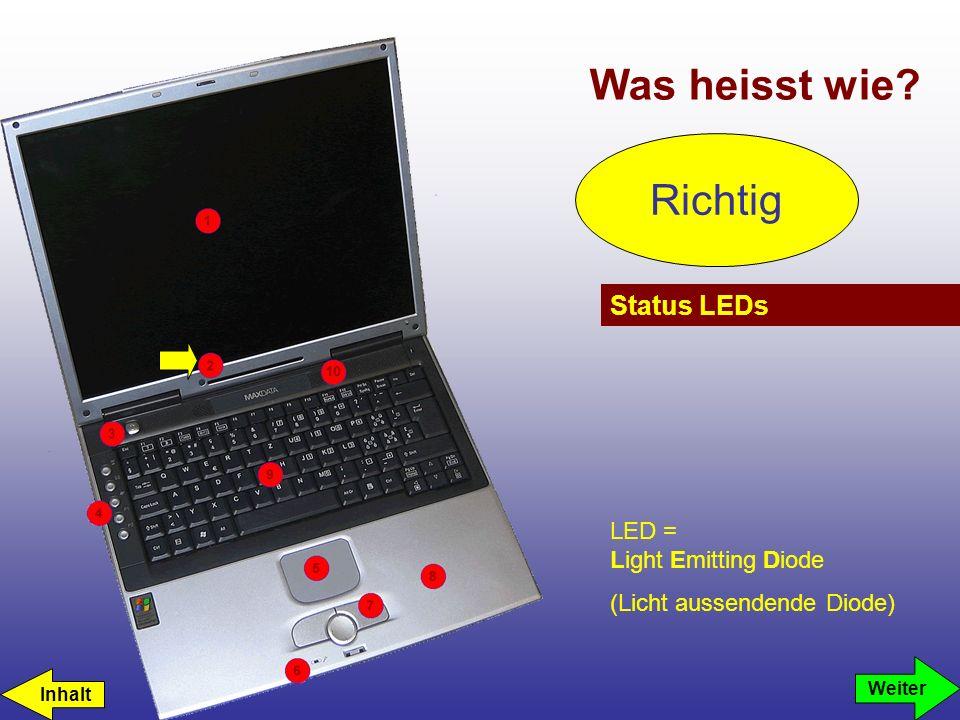 Was heisst wie? Status LEDs LED = Light Emitting Diode (Licht aussendende Diode) Richtig Weiter Inhalt