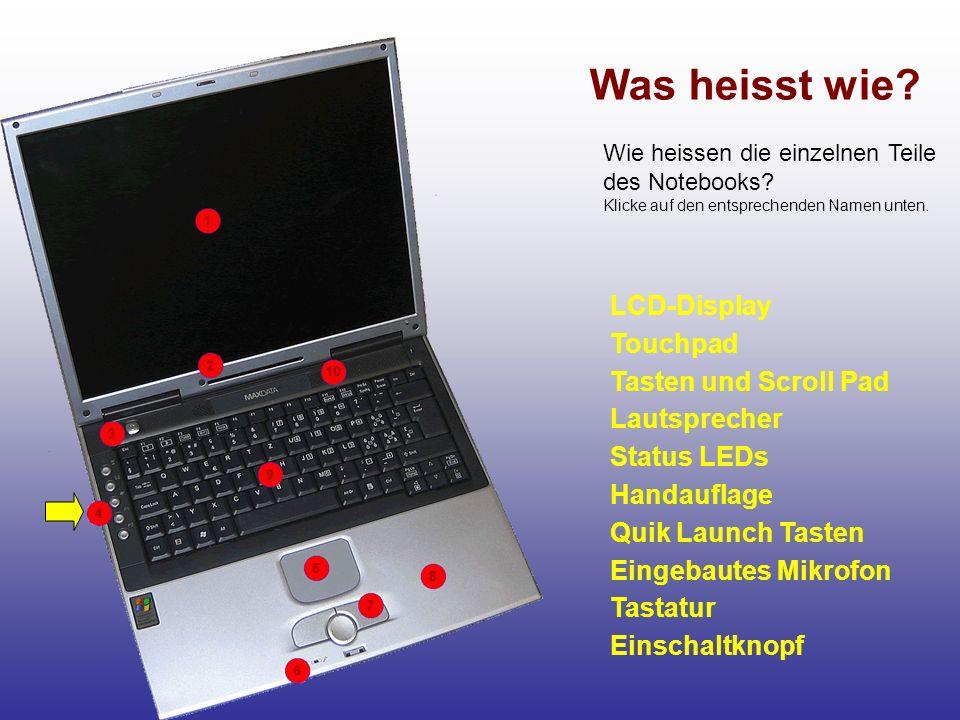 Was heisst wie? LCD-Display Touchpad Tasten und Scroll Pad Lautsprecher Status LEDs Handauflage Quik Launch Tasten Tastatur Eingebautes Mikrofon Einsc