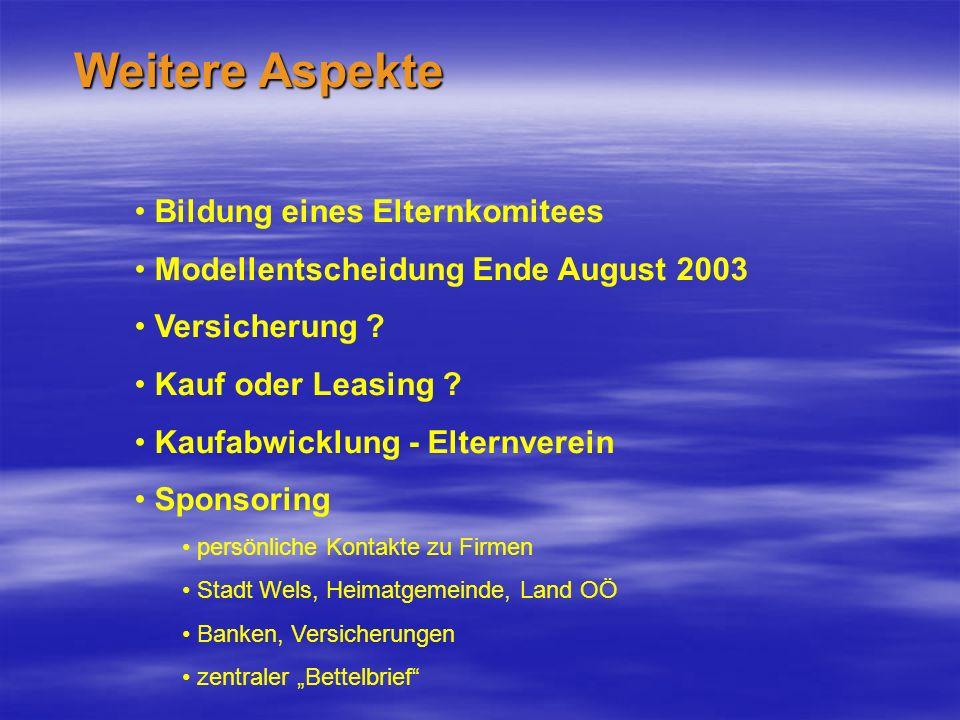 Weitere Aspekte Bildung eines Elternkomitees Modellentscheidung Ende August 2003 Versicherung .