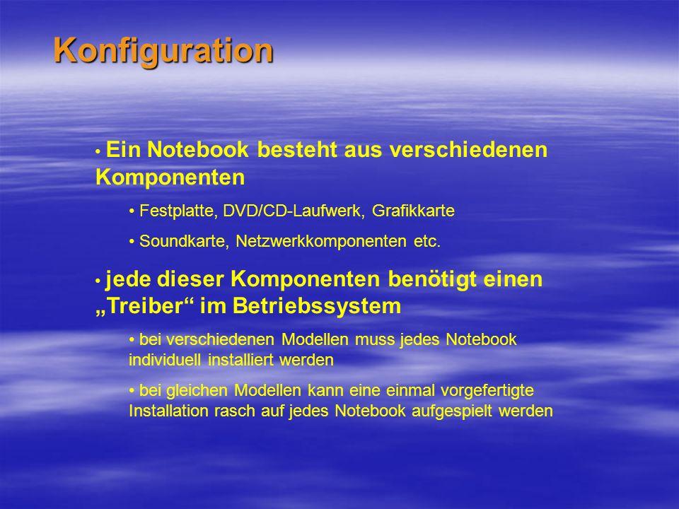 Konfiguration Ein Notebook besteht aus verschiedenen Komponenten Festplatte, DVD/CD-Laufwerk, Grafikkarte Soundkarte, Netzwerkkomponenten etc.