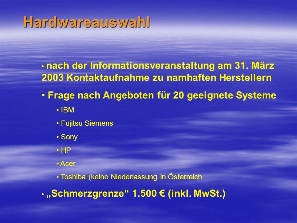 Hardwareauswahl nach der Informationsveranstaltung am 31.