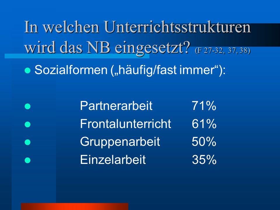In welchen Unterrichtsstrukturen wird das NB eingesetzt? (F 27-32, 37, 38) Sozialformen (häufig/fast immer): Partnerarbeit 71% Frontalunterricht 61% G