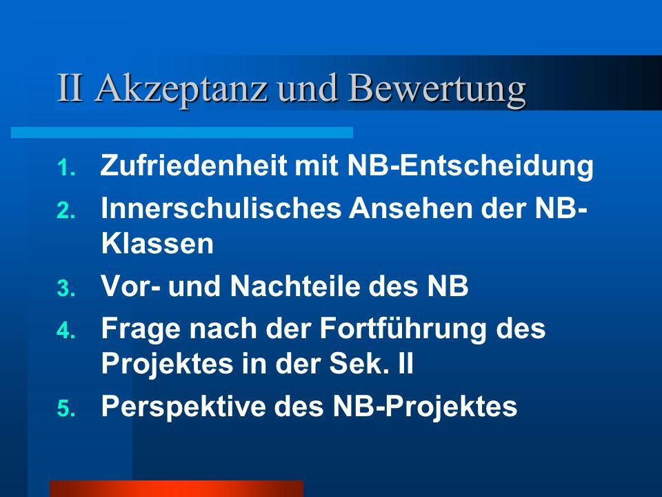 II Akzeptanz und Bewertung 1. Zufriedenheit mit NB-Entscheidung 2. Innerschulisches Ansehen der NB- Klassen 3. Vor- und Nachteile des NB 4. Frage nach
