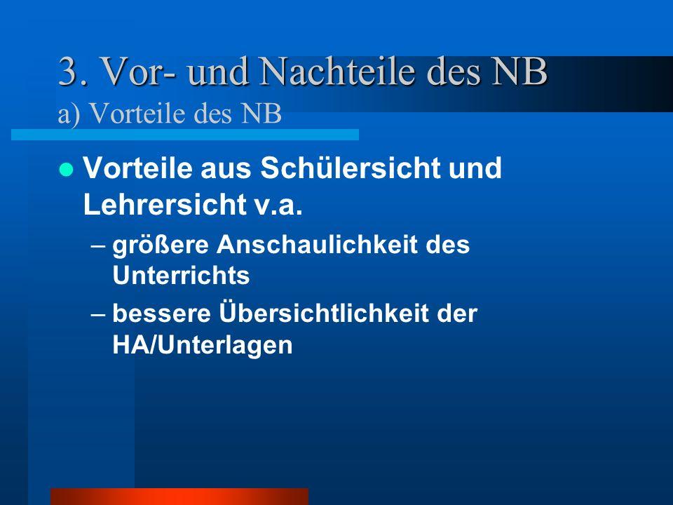 3. Vor- und Nachteile des NB 3. Vor- und Nachteile des NB a) Vorteile des NB Vorteile aus Schülersicht und Lehrersicht v.a. –größere Anschaulichkeit d