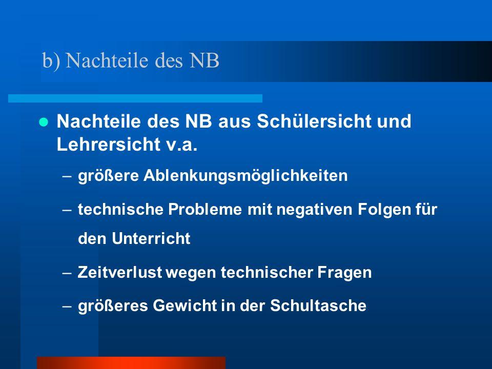 b) Nachteile des NB Nachteile des NB aus Schülersicht und Lehrersicht v.a. –größere Ablenkungsmöglichkeiten –technische Probleme mit negativen Folgen