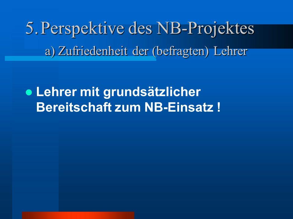 5.Perspektive des NB-Projektes a) Zufriedenheit der (befragten) Lehrer Lehrer mit grundsätzlicher Bereitschaft zum NB-Einsatz !