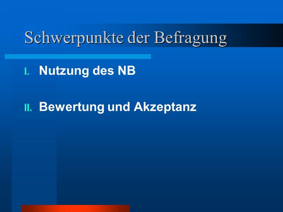 Schwerpunkte der Befragung I. Nutzung des NB II. Bewertung und Akzeptanz