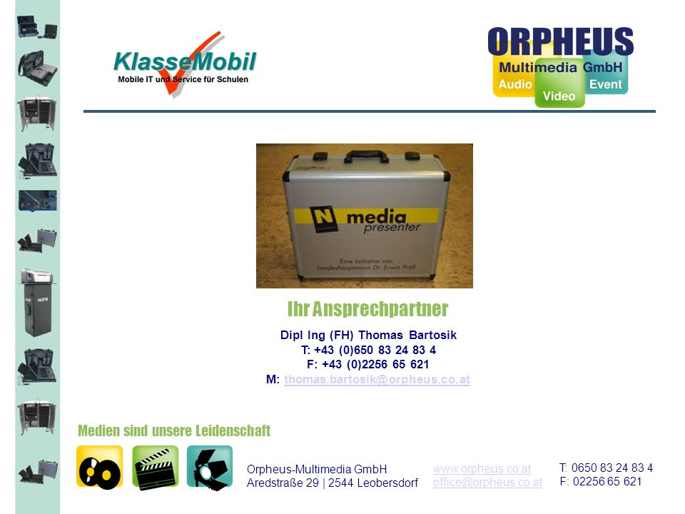 © mobile IT Service GmbH 2 NÖ-Media Presenter mit Trolleygestell zum einfachen transportieren von Klasse zu Klasse Tragegriffe links und rechts