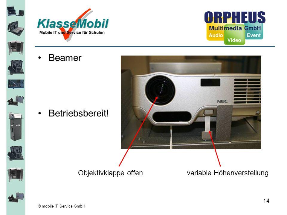 © mobile IT Service GmbH 14 Beamer Betriebsbereit! Objektivklappe offen variable Höhenverstellung