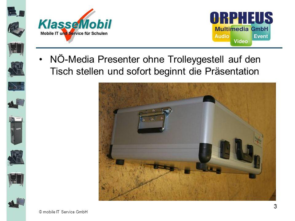 © mobile IT Service GmbH 4 Anschlusspanel Beamer Anschlusskabel Beamer/Festplatte DVD-Player Lautsprecher (intern) Festplatte