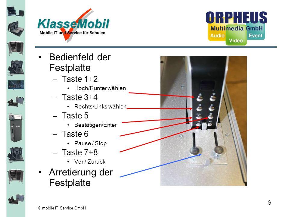 © mobile IT Service GmbH 9 Bedienfeld der Festplatte –Taste 1+2 Hoch/Runter wählen –Taste 3+4 Rechts/Links wählen –Taste 5 Bestätigen/Enter –Taste 6 P