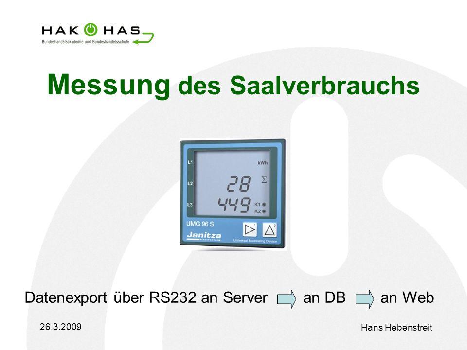 26.3.2009 Hans Hebenstreit Messung des Saalverbrauchs Datenexport über RS232 an Server an DB an Web