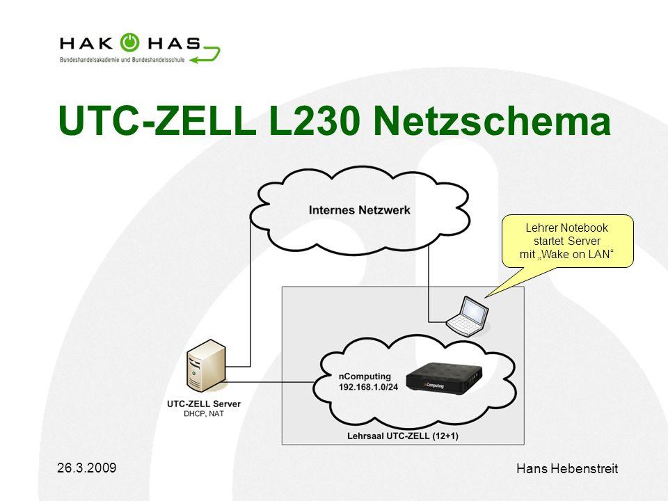 26.3.2009 Hans Hebenstreit UTC-ZELL L230 Netzschema Lehrer Notebook startet Server mit Wake on LAN