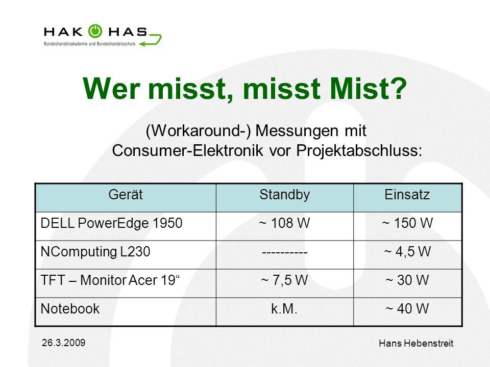 26.3.2009 Hans Hebenstreit Wer misst, misst Mist.