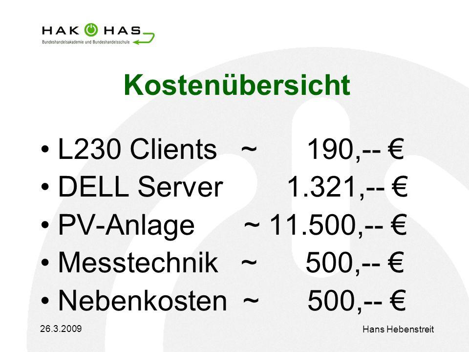 26.3.2009 Hans Hebenstreit Kostenübersicht L230 Clients ~ 190,-- DELL Server 1.321,-- PV-Anlage ~ 11.500,-- Messtechnik ~ 500,-- Nebenkosten ~ 500,--