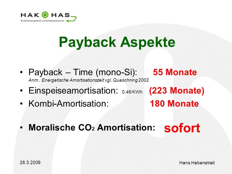 26.3.2009 Hans Hebenstreit Payback Aspekte Payback – Time (mono-Si): 55 Monate Anm.: Energetische Amortisationszeit vgl.