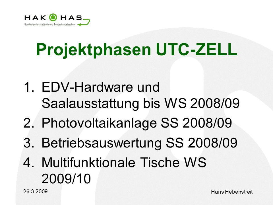 26.3.2009 Hans Hebenstreit Projektphasen UTC-ZELL 1.EDV-Hardware und Saalausstattung bis WS 2008/09 2.Photovoltaikanlage SS 2008/09 3.Betriebsauswertung SS 2008/09 4.Multifunktionale Tische WS 2009/10