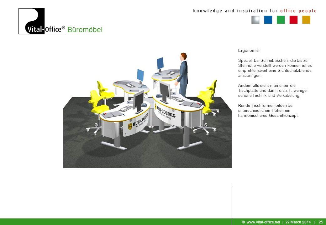 Büromöbel © www.vital-office.net | 27 March 2014 | 24 Ergonomie: Allgemein wird es störend empfunden, wenn 2 Mitarbeiter sich direkt gegenüber sitzen.