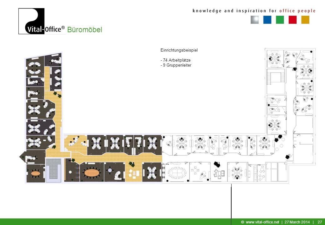 Büromöbel © www.vital-office.net | 27 March 2014 | 26 Einrichtungsbeispiel: 3er Gruppe mit Zusatzfunktion 4er Gruppe Gruppenleiter Einzelzimmer GL mit
