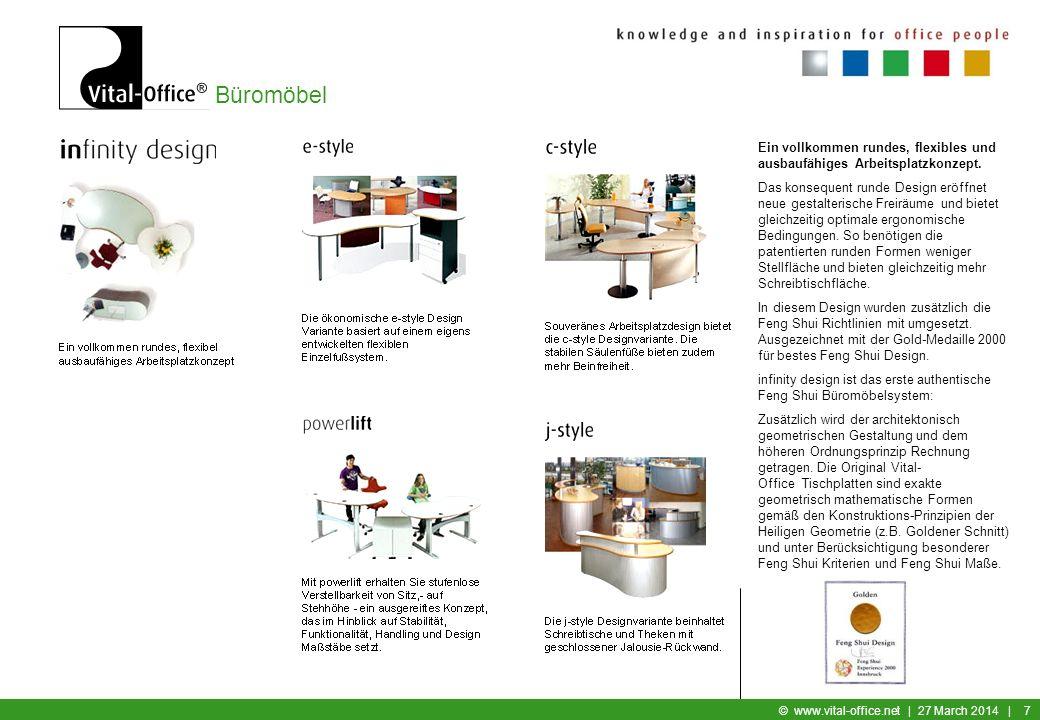 Büromöbel © www.vital-office.net   27 March 2014   17 Vital-Office Argumente Manch einer möchte eine Plastikkante - abwaschbar, pflegeleicht, unverwüstlich - andere mögen lieber echtes Holz (Wertigkeit und Nachhaltigkeit der Tischplatte)