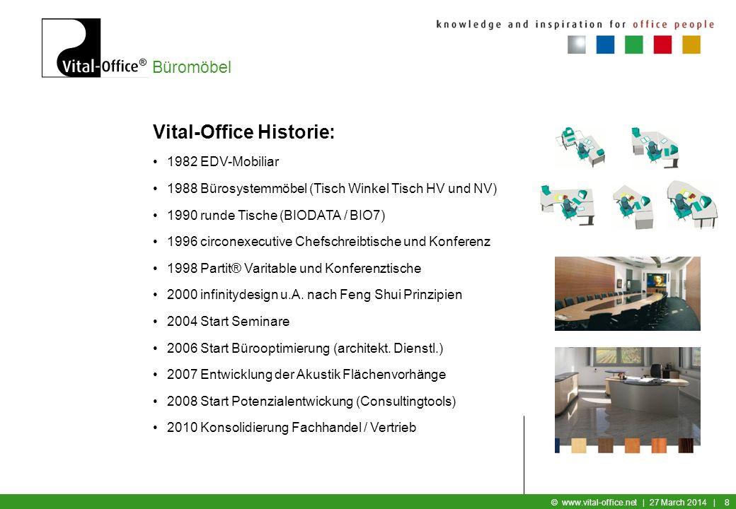 Büromöbel © www.vital-office.net   27 March 2014   8 Vital-Office Historie: 1982 EDV-Mobiliar 1988 Bürosystemmöbel (Tisch Winkel Tisch HV und NV) 1990 runde Tische (BIODATA / BIO7) 1996 circonexecutive Chefschreibtische und Konferenz 1998 Partit® Varitable und Konferenztische 2000 infinitydesign u.A.