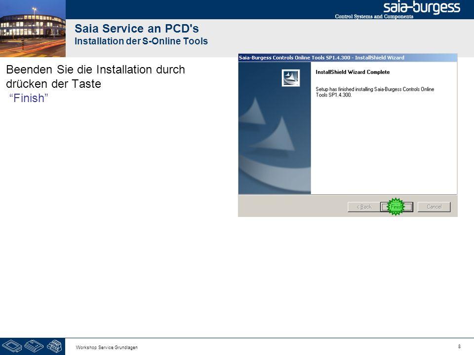 8 Workshop Service Grundlagen Saia Service an PCD s Installation der S-Online Tools Beenden Sie die Installation durch drücken der Taste Finish