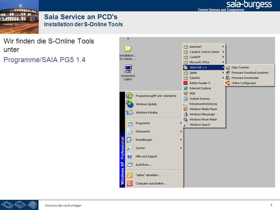 10 Workshop Service Grundlagen Saia Service an PCD s Installation der S-Online Tools Schließen wir nach der Installation das erste mal eine PCD3 oder PCD2.M5xxx über USB an das Notebook an, erscheint der Windows- Assistent für das Suchen neuer Hardware.