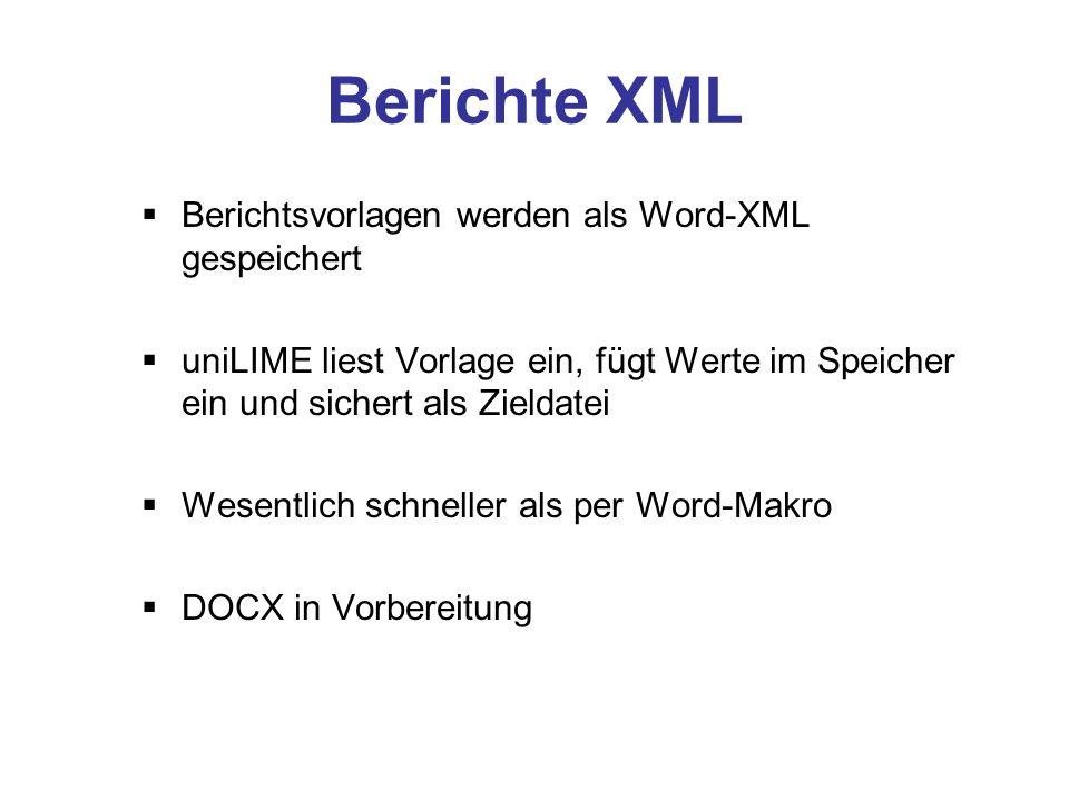 Berichtedefinition neu Ausgabeformat kann ohne / mit minimalen Änderungen für Word, Excel, Text, HTML, XML etc.