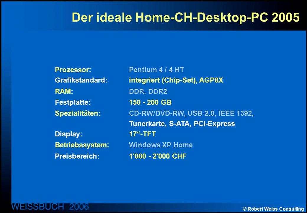 © Robert Weiss Consulting Der ideale Home-CH-Desktop-PC 2005 Prozessor: Pentium 4 / 4 HT Grafikstandard: integriert (Chip-Set), AGP8X RAM: DDR, DDR2 Festplatte: 150 - 200 GB Spezialitäten: CD-RW/DVD-RW, USB 2.0, IEEE 1392, Tunerkarte, S-ATA, PCI-Express Display: 17-TFT Betriebssystem: Windows XP Home Preisbereich: 1 000 - 2 000 CHF