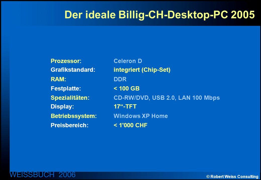 © Robert Weiss Consulting Der ideale Billig-CH-Desktop-PC 2005 Prozessor: Celeron D Grafikstandard: integriert (Chip-Set) RAM: DDR Festplatte: < 100 GB Spezialitäten: CD-RW/DVD, USB 2.0, LAN 100 Mbps Display: 17-TFT Betriebssystem: Windows XP Home Preisbereich: < 1 000 CHF