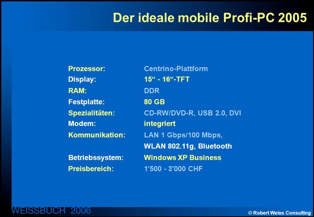 © Robert Weiss Consulting Der ideale mobile Profi-PC 2005 Prozessor: Centrino-Plattform Display: 15 - 16-TFT RAM: DDR Festplatte: 80 GB Spezialitäten: CD-RW/DVD-R, USB 2.0, DVI Modem:integriert Kommunikation: LAN 1 Gbps/100 Mbps, WLAN 802.11g, Bluetooth Betriebssystem: Windows XP Business Preisbereich: 1 500 - 3 000 CHF