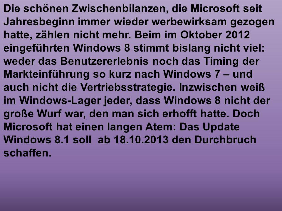 Die schönen Zwischenbilanzen, die Microsoft seit Jahresbeginn immer wieder werbewirksam gezogen hatte, zählen nicht mehr.