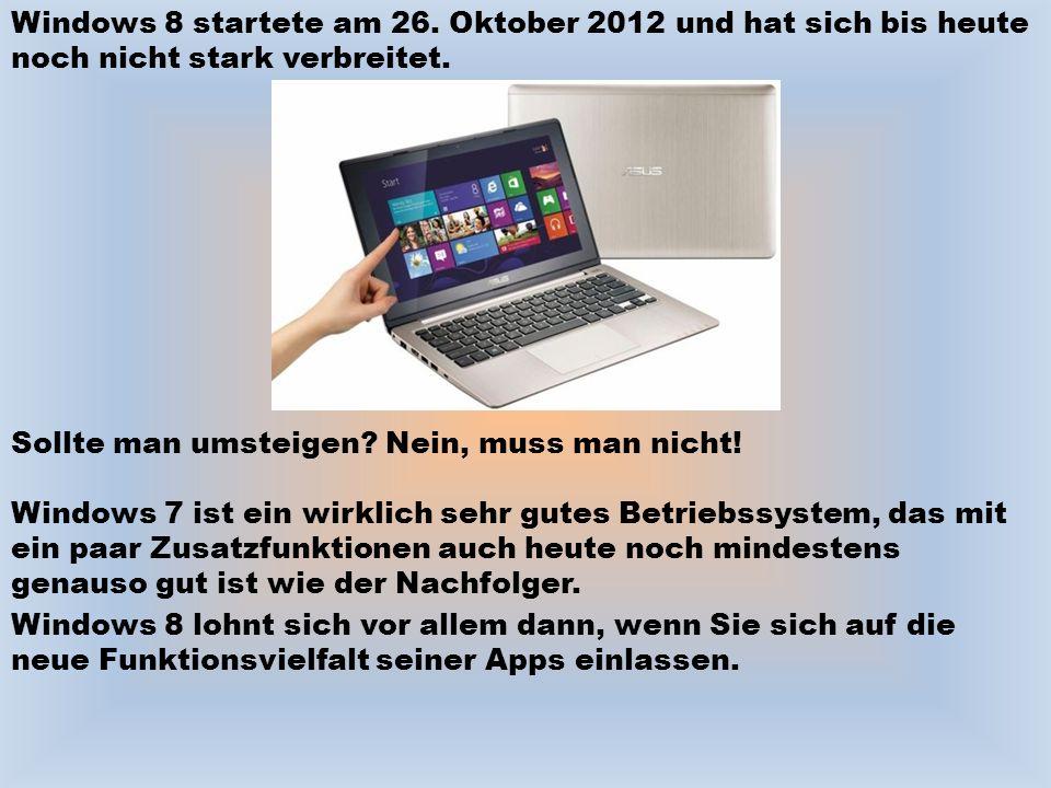 Windows 8 startete am 26. Oktober 2012 und hat sich bis heute noch nicht stark verbreitet.