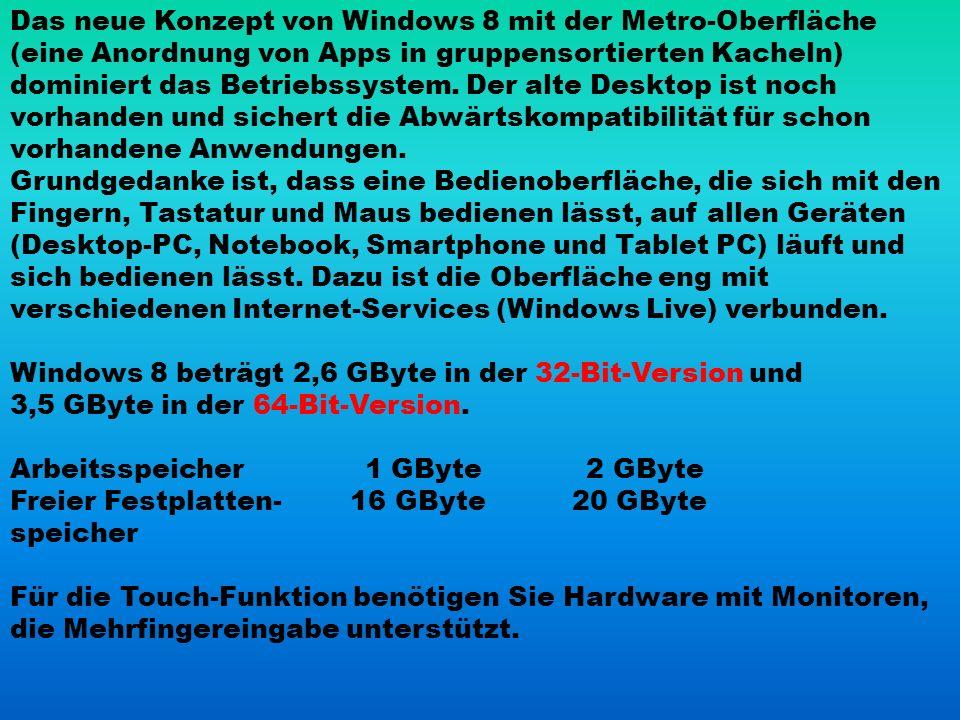 Das neue Konzept von Windows 8 mit der Metro-Oberfläche (eine Anordnung von Apps in gruppensortierten Kacheln) dominiert das Betriebssystem.