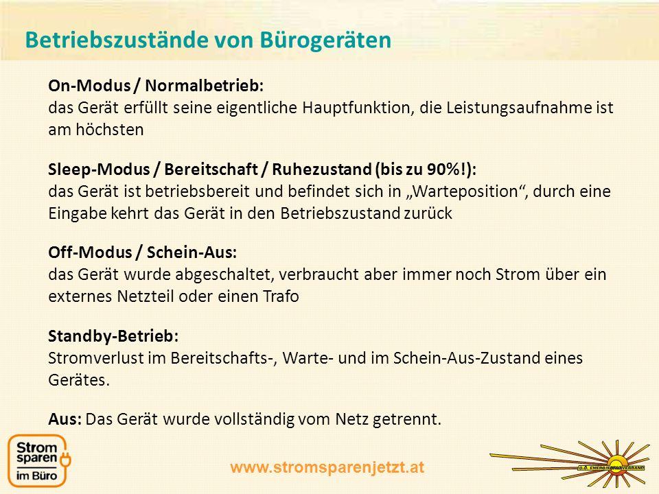www.stromsparenjetzt.at On-Modus / Normalbetrieb: das Gerät erfüllt seine eigentliche Hauptfunktion, die Leistungsaufnahme ist am höchsten Sleep-Modus
