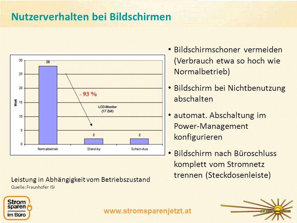 www.stromsparenjetzt.at Bildschirmschoner vermeiden (Verbrauch etwa so hoch wie Normalbetrieb) Bildschirm bei Nichtbenutzung abschalten automat. Absch