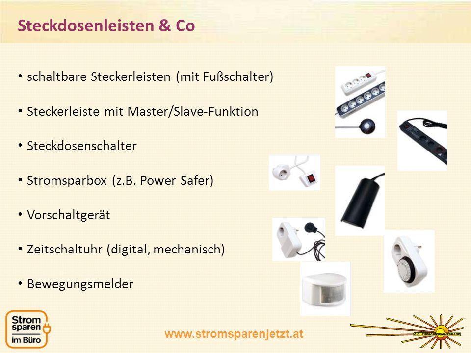 www.stromsparenjetzt.at schaltbare Steckerleisten (mit Fußschalter) Steckerleiste mit Master/Slave-Funktion Steckdosenschalter Stromsparbox (z.B. Powe