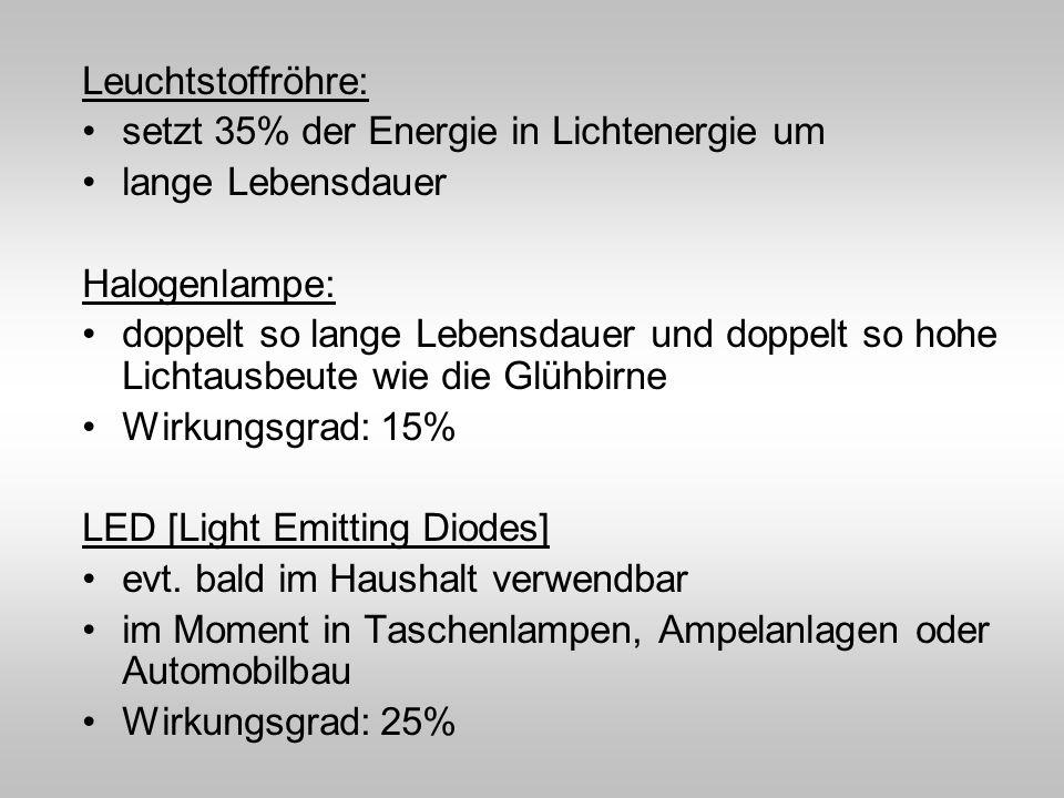 Leuchtstoffröhre: setzt 35% der Energie in Lichtenergie um lange Lebensdauer Halogenlampe: doppelt so lange Lebensdauer und doppelt so hohe Lichtausbe