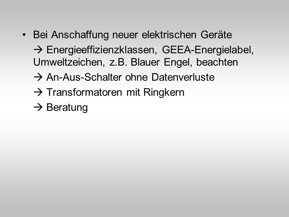 Bei Anschaffung neuer elektrischen Geräte Energieeffizienzklassen, GEEA-Energielabel, Umweltzeichen, z.B. Blauer Engel, beachten An-Aus-Schalter ohne