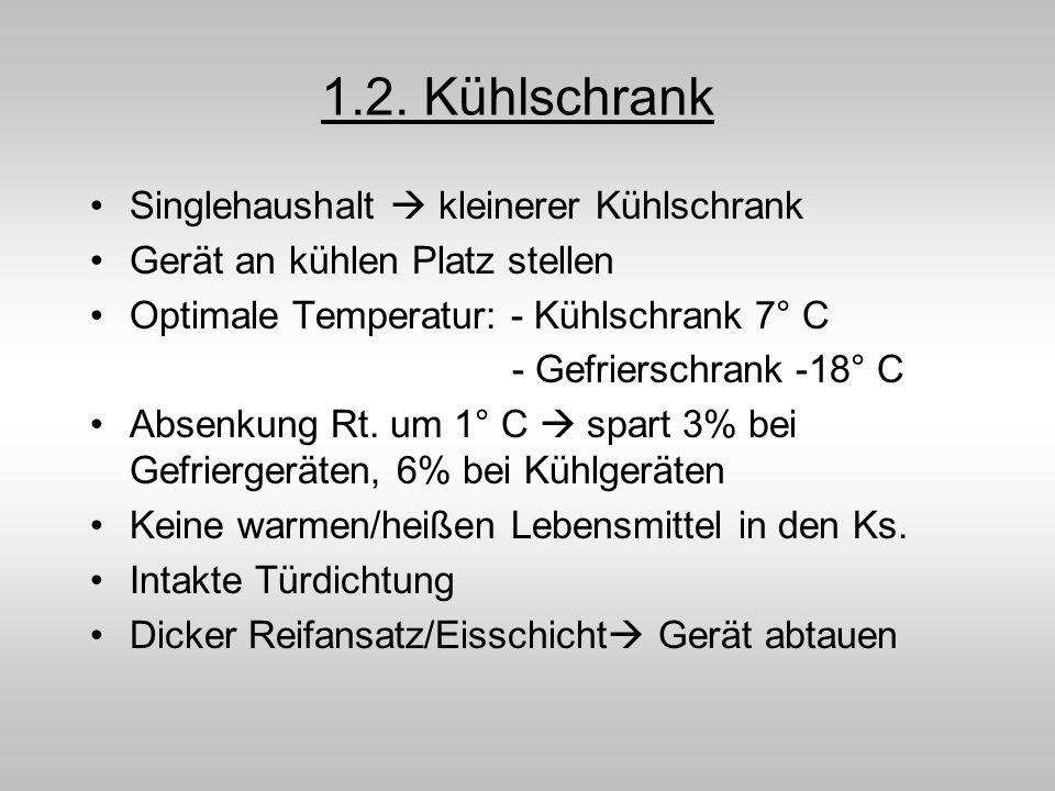 1.2. Kühlschrank Singlehaushalt kleinerer Kühlschrank Gerät an kühlen Platz stellen Optimale Temperatur: - Kühlschrank 7° C - Gefrierschrank -18° C Ab