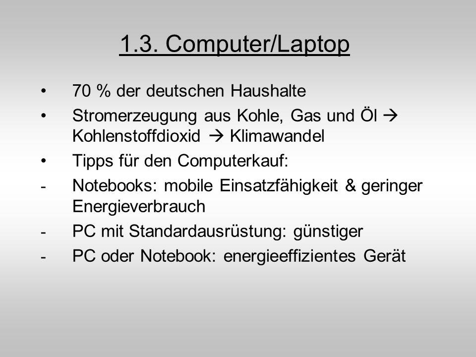 1.3. Computer/Laptop 70 % der deutschen Haushalte Stromerzeugung aus Kohle, Gas und Öl Kohlenstoffdioxid Klimawandel Tipps für den Computerkauf: - Not