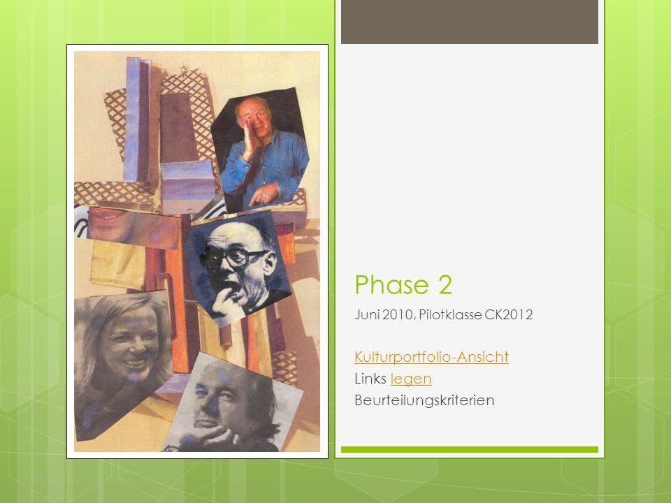 Phase 2 Juni 2010, Pilotklasse CK2012 Kulturportfolio-Ansicht Links legenlegen Beurteilungskriterien