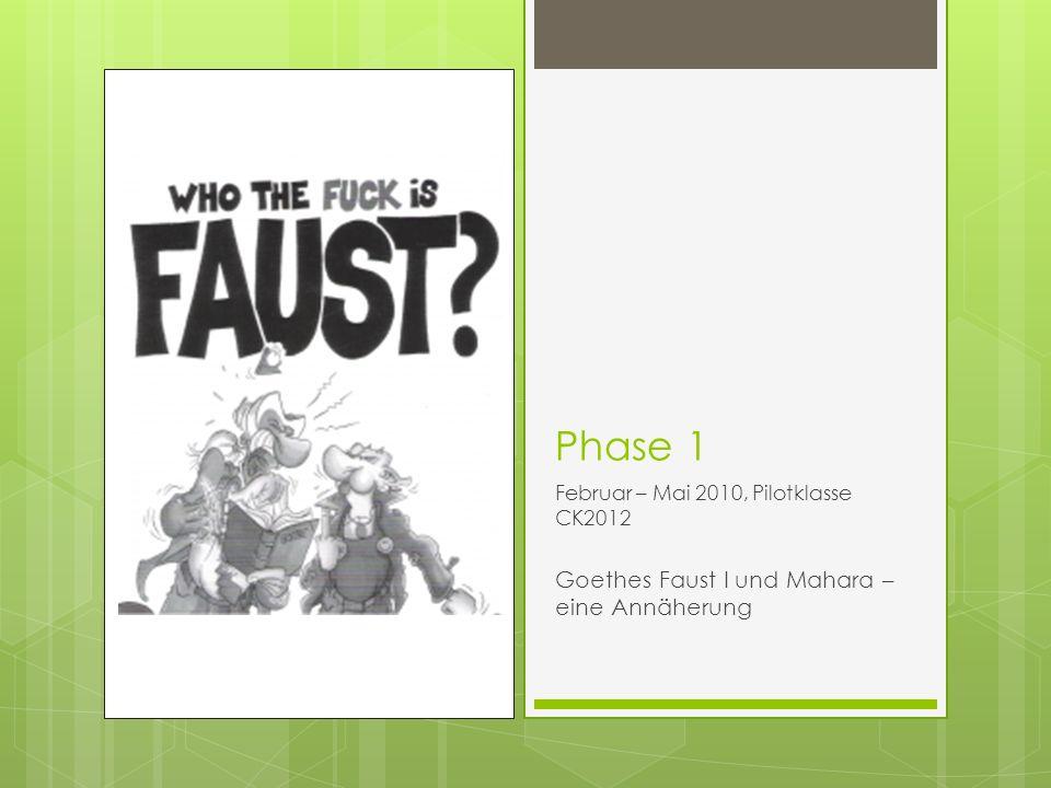 Phase 1 Februar – Mai 2010, Pilotklasse CK2012 Goethes Faust I und Mahara – eine Annäherung
