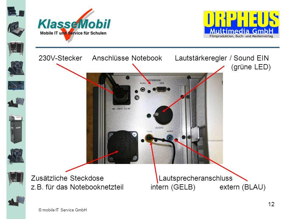 © mobile IT Service GmbH 12 230V-Stecker Anschlüsse Notebook Lautstärkeregler / Sound EIN (grüne LED) Zusätzliche Steckdose Lautsprecheranschluss z.B.