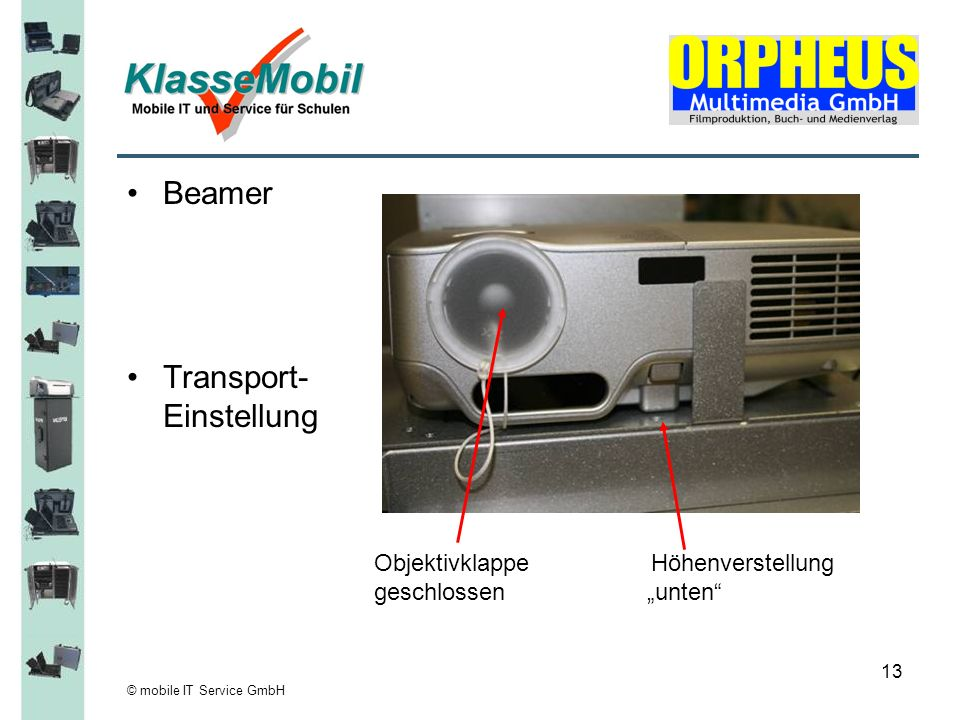 © mobile IT Service GmbH 13 Beamer Transport- Einstellung Objektivklappe Höhenverstellung geschlossen unten