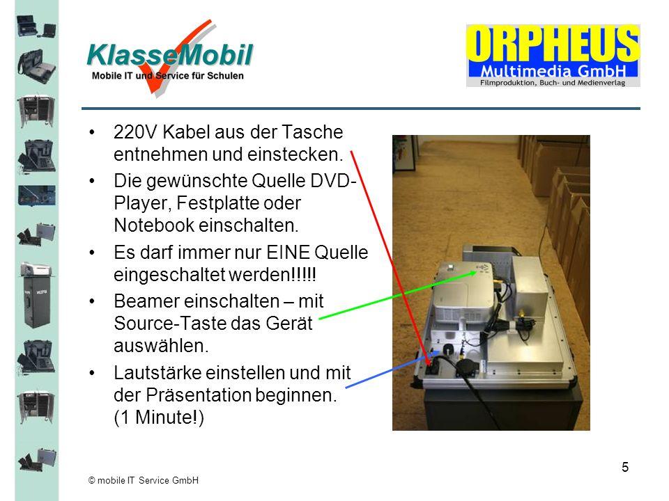 © mobile IT Service GmbH 5 220V Kabel aus der Tasche entnehmen und einstecken. Die gewünschte Quelle DVD- Player, Festplatte oder Notebook einschalten