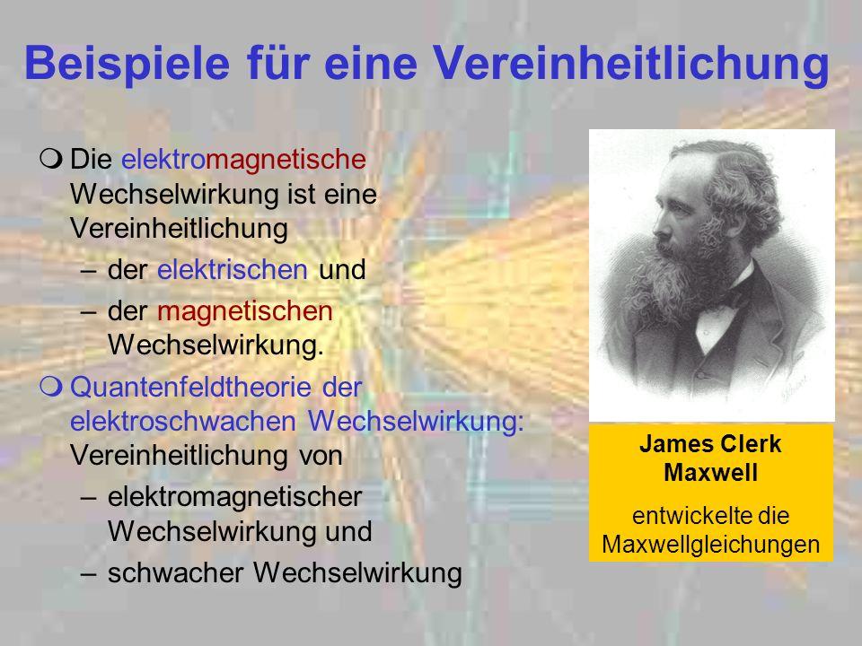Beispiele für eine Vereinheitlichung Die elektromagnetische Wechselwirkung ist eine Vereinheitlichung –der elektrischen und –der magnetischen Wechselw